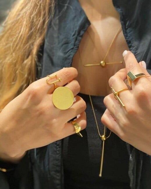 טבעת ירח זהב