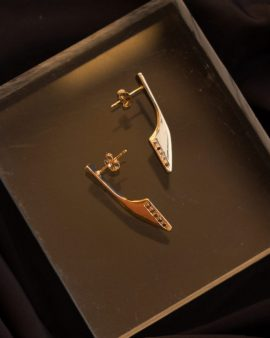 Black Diamonds Flipper Gold Earrings