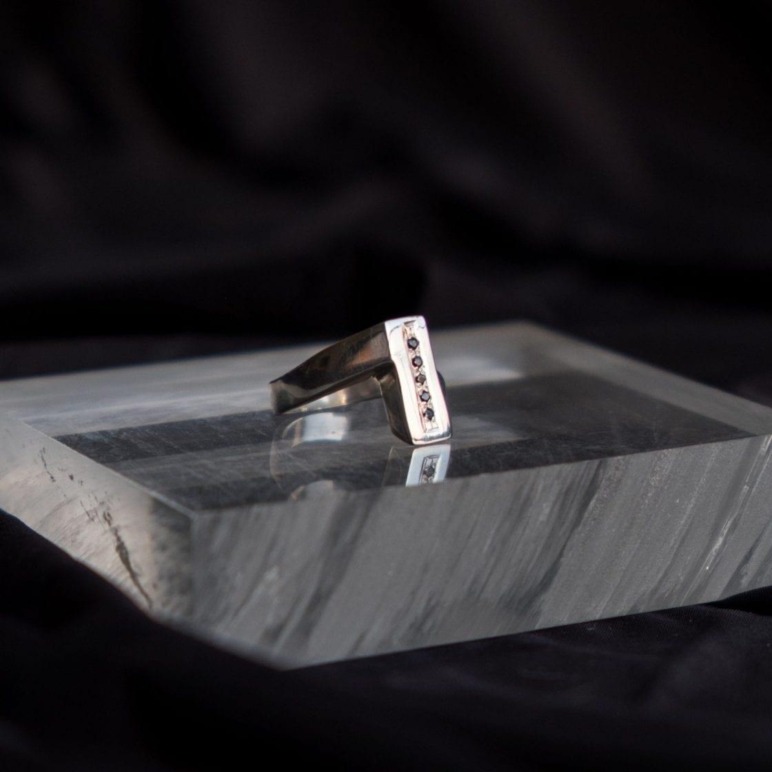 Black Diamonds Bar Silver Ring