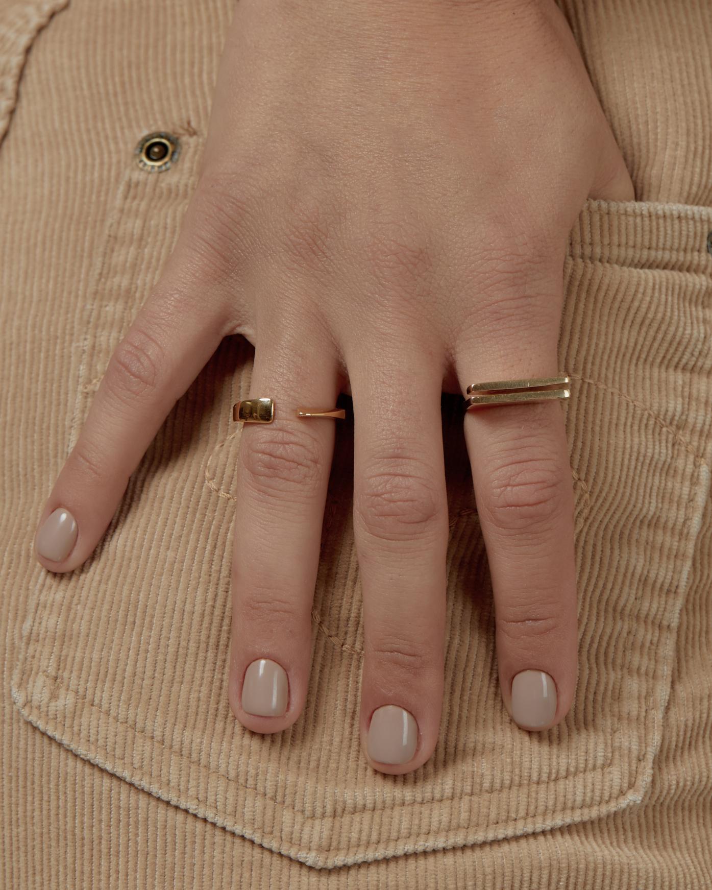 טבעת גיאומטרית זהב 9K